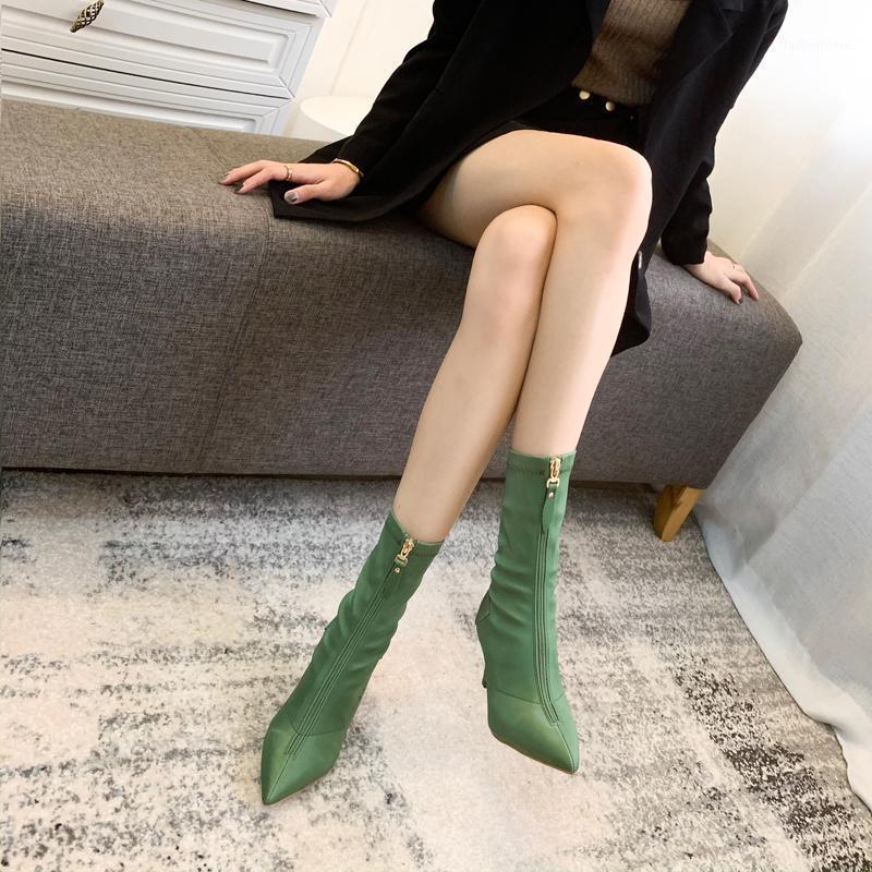 Сапоги женские туфли заостренный носок поперечины завязанные ZIP пинетки весна осень из осенних гладиаторов сандалии на высоком каблуке Botas1