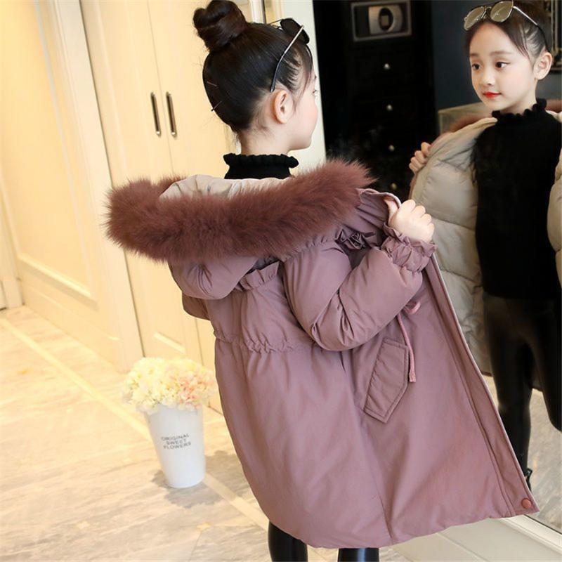 4 5 6 7 8 Años Chaqueta de invierno Moda de otoño de los niños de las niñas caliente de la capa encapuchada de la piel gruesa de chicas niño a largo abrigo ropa de la muchacha