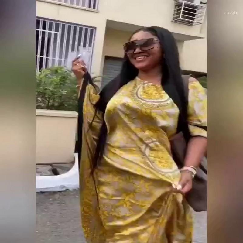 2020 Mujeres de verano Vestido Mujeres African Women Printing Polyester Plus Tamaño Vestido largo Vestidos africanos para 1