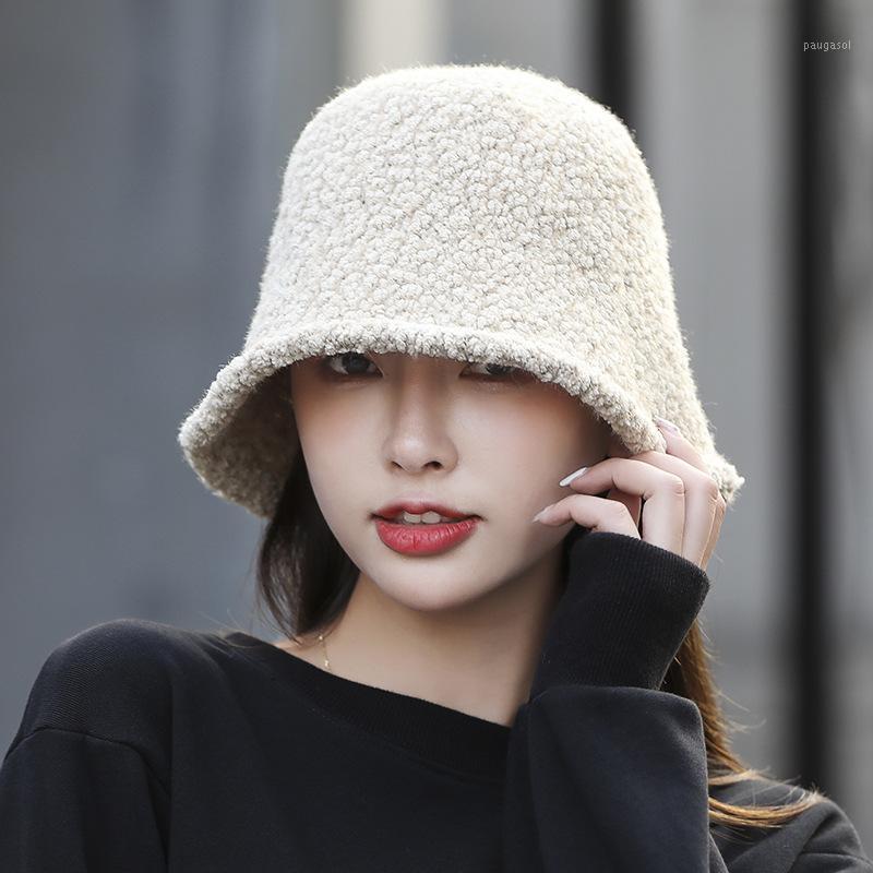Outono e inverno cordeiro lã pescador chapéu feminino coreano forma chapéu japonês estilo cubeta literária big brim1