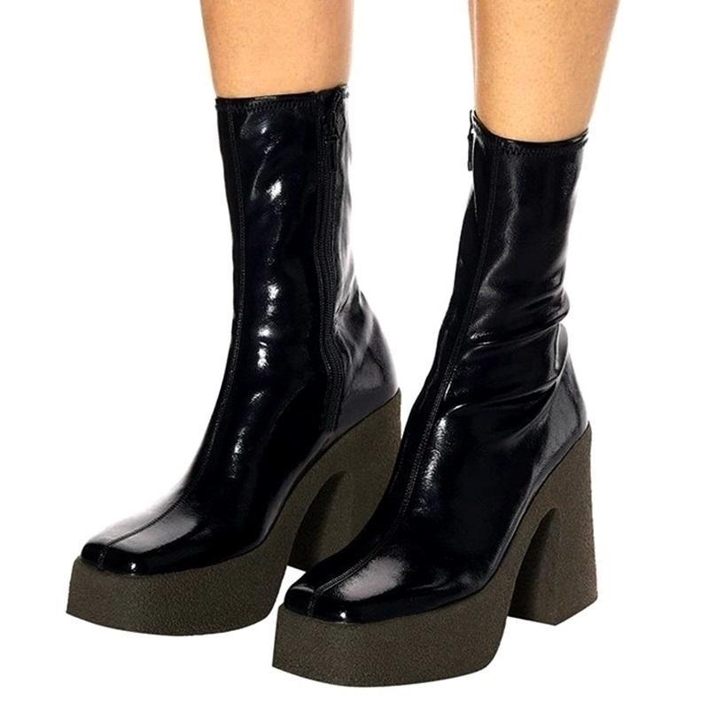 Brand Sockenstiefel Stretch Sexy High Heels Boots Frau Platform Schuhe Herbst Winter über dem Knie Hohe Stiefel Weibliche Schuhe Booties 201128