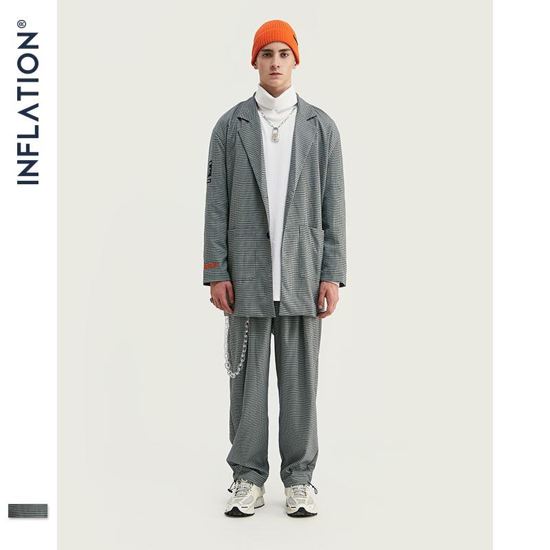 Inflación Nueva Llegada Menores de lujo Blazer Fit Fit Moda Streetwear Hombres Traje Gris Check Terno Masculino Blazers Men Streetwear 201106