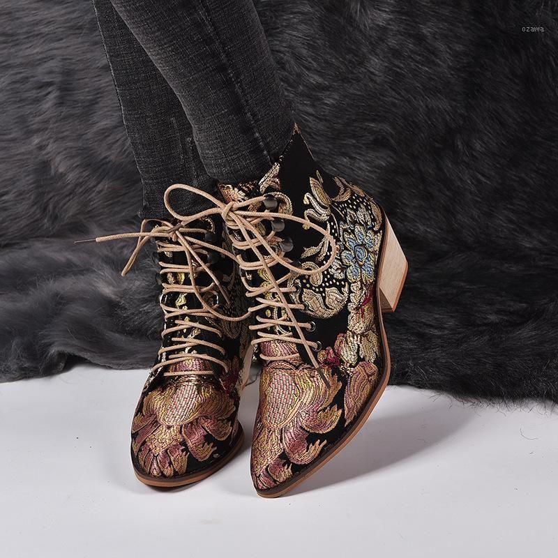 Çizmeler Bohemian Kadın Baskılı Ayak Bileği Vintage Motosiklet Patik Bayanlar Ayakkabı Kadın 2021 Nakış Yüksek Topuklu 35-431