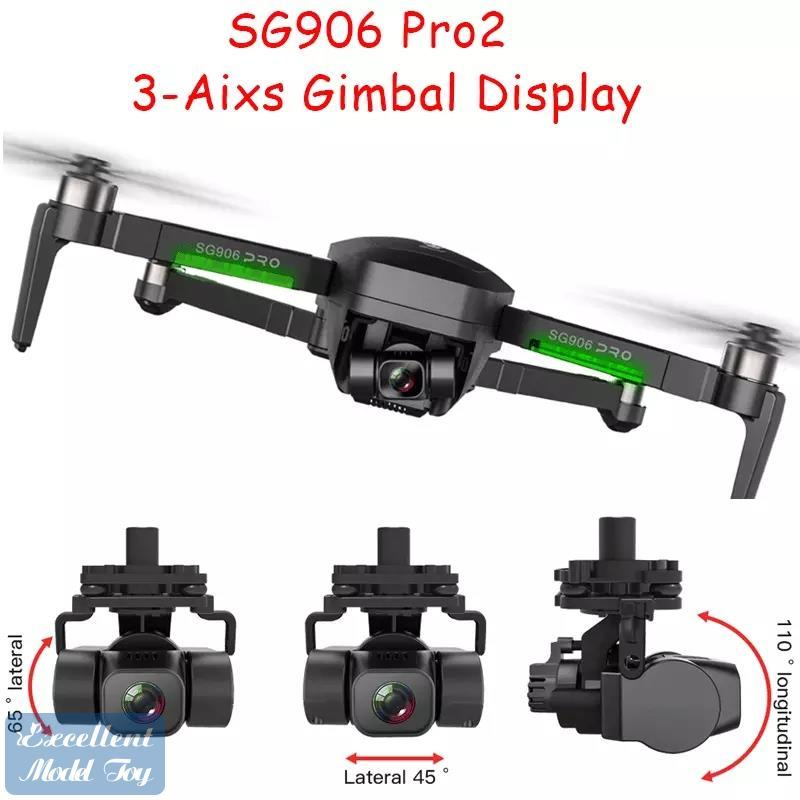 SG906 PRO2 DRONE 3 -AXIS Gimble Anti-Shake 5G 4K-Kamera 50x Zoom, Bürstenloser Motor, GPS Smart Folgen, RC-Entfernung 1.2km, 26-Minuten-Fliegenzeit, 2-1