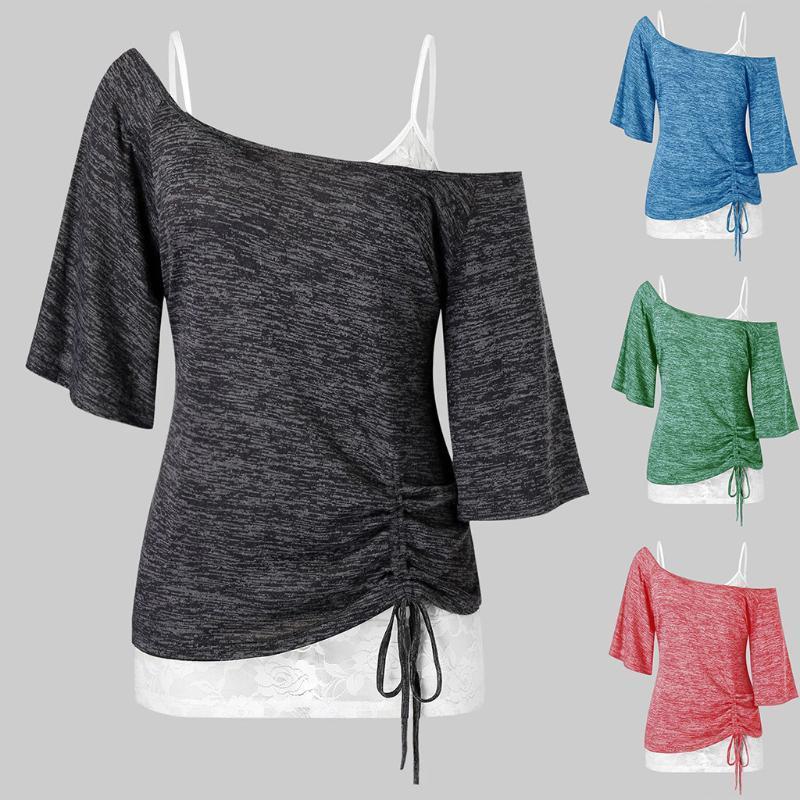 Two Piece Set Plus Taille Mode Dentelle Sangle Gilet + Off Epaule Blouse Top Adiques occasionnelles Femmes Femmes Femmes Sleeve Sleeve Blusas Pullover
