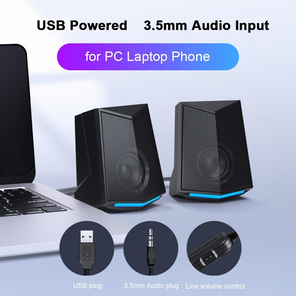 Computadora de escritorio Altavoz Audio 2.0 Canal de sonido Sonido de sonido 3W Salida USB Mini subwoofer portátil para PC Teléfono V115