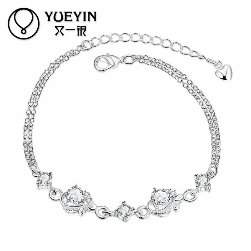 Silver plated bracelet&bangles for women bridal jewelry bracelet llaveros gift Wholesale Retail brilliant bracelet