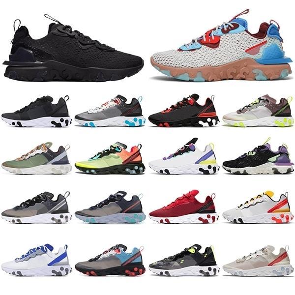 Reaksiyon Elemanı 87 55 Koşu Ayakkabısı Erkekler Kadınlar Için Üçlü Siyah Yerçekimi Mor Chaussures Nefes Açık Erkek Trainer Spor Sneaker