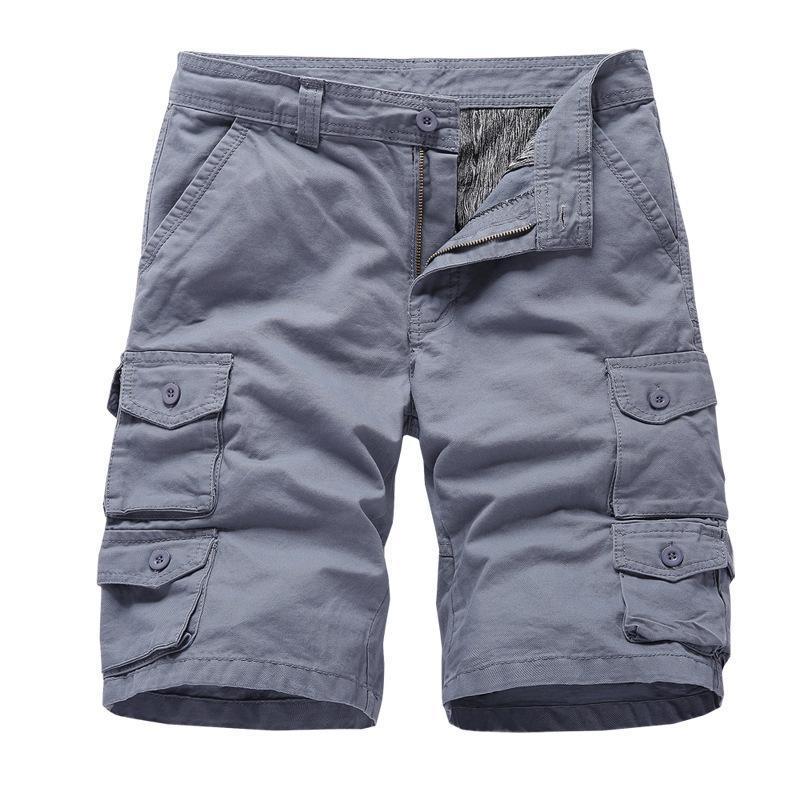 Negizer 2021 New Herren Beach Cargo Pants 100% Baumwolle Beiläufige Shorts Overalls Multi-Pocket Solid Color Sports Shorts Männer