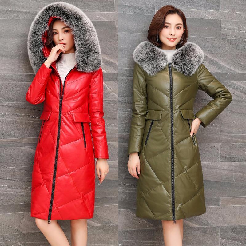 Jaqueta mulheres 2020 inverno colarinho de pele pato casaco womens plus size pele de carneiro couro genuíno para baixo jaquetas x66 yy522