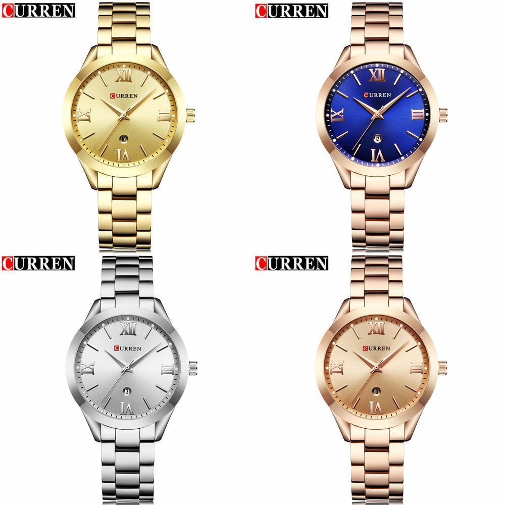 New Curren Gold Watch Women Watches Senhoras 9007 Aço Feminino Pulseira Relógios Femininos Relogio Feminino Montre Femme J1205