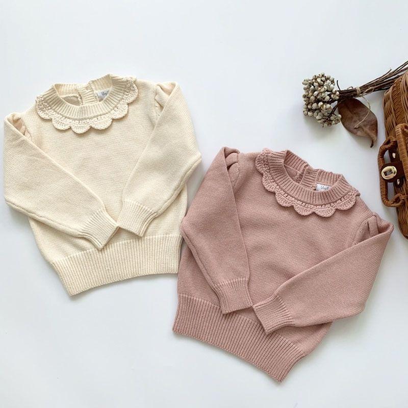 Новые дети девушки с длинным рукавом вязать кружева свитер осень зима детские дети девушки свитеров пуловер 1-7yrs 201103
