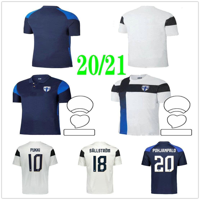 2020 2021 National Team Finland Soccer Jerseys PUKKI KEMPPI ENGMAN HRADECKY Custom Home White Away Blue 20 21 Football Shirts Uniforms