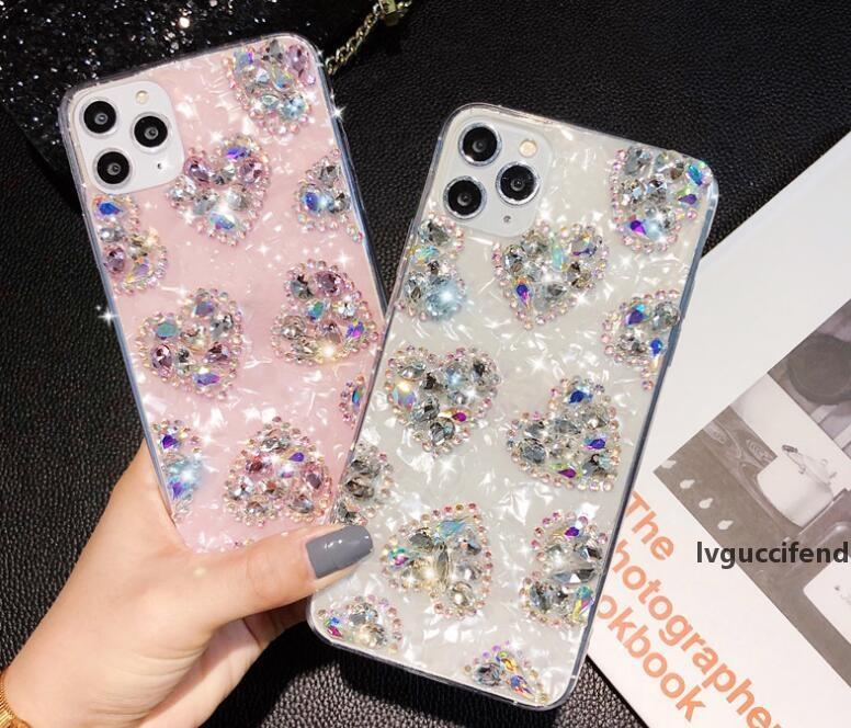 다이아몬드 사랑 하트 아이폰 11 프로 최대 XS 최대 xr x 7 8 6 플러스 패션 블링 스피닝 호일 쉘 휴대 전화 다시 스킨 커버