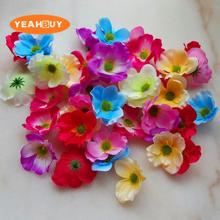 7cm pavot artificiel décoratif de la soie de la fleur de fleur de 28 pcs pour bricolage poitrine guirlande guirlande fleur maison décoration accessoire accessoires accessoires