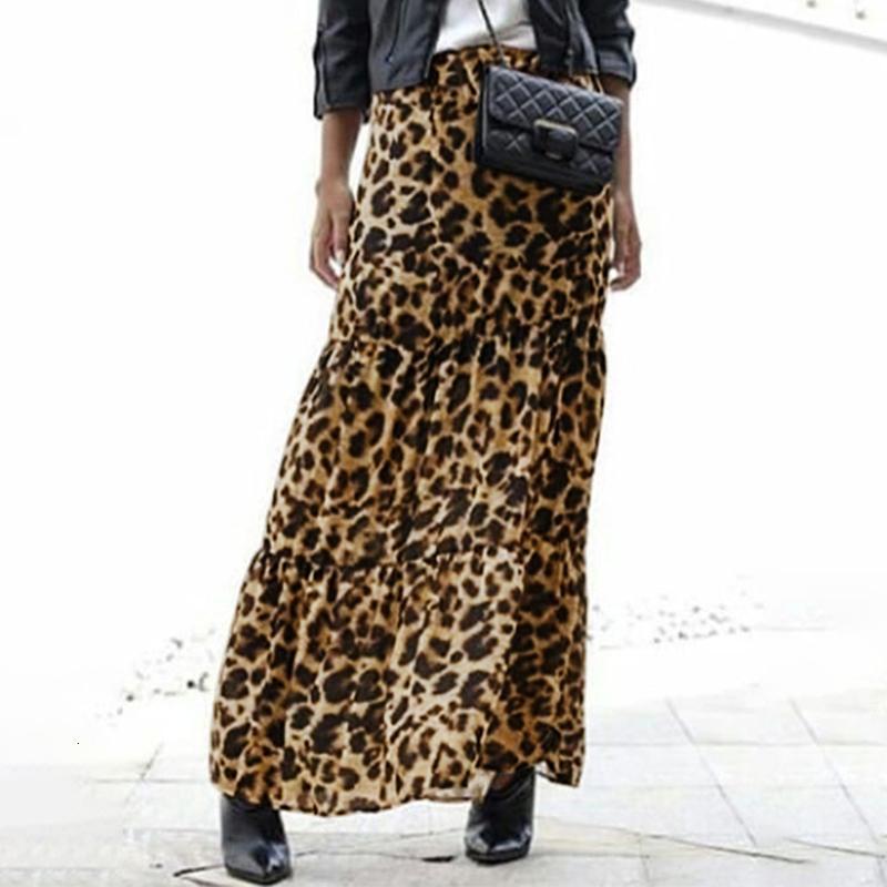 Moda Mujeres Largo Leopardo Estampado Zanzea Verano Casual Elástico Taille ROK Fiesta Flojo Maxi Fumar Femenino Vestido S-5XL