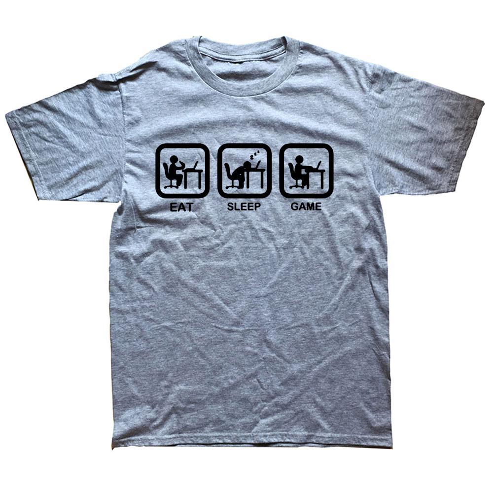 Nouvelle mode manger jeu de sommeil Gamer T-shirt drôle Homme Humour Humour Casual Imprimé College Mens manches courtes à manches courtes