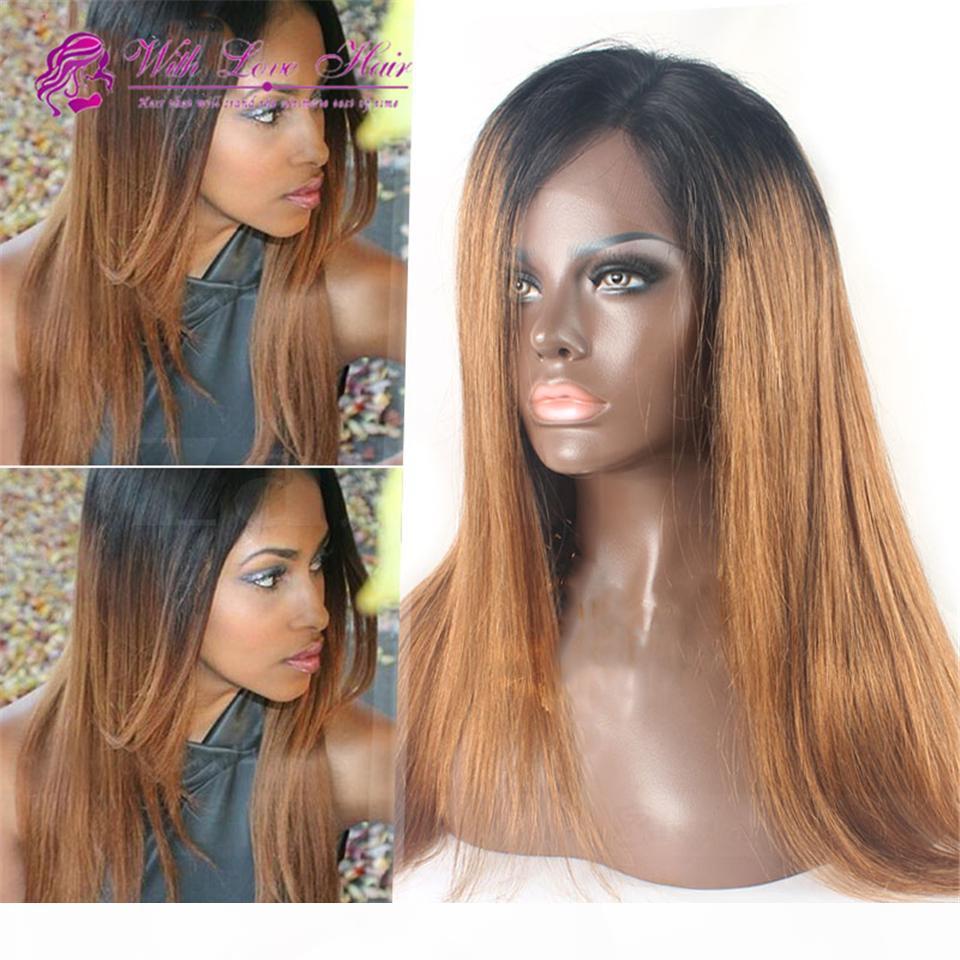 # 1b 30 100% Virgin Malasia Peluca de cabello humano Ombre Pelucas delanteras de encaje sin encaje sin glóvía para mujeres negras envío gratis