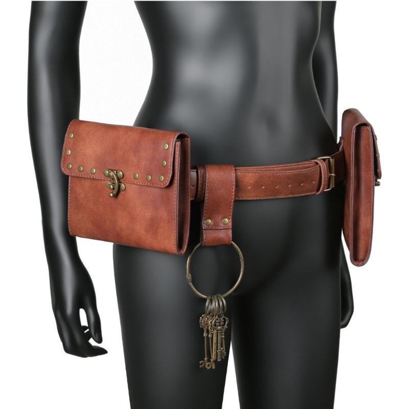Creativo vintage cintura portafoglio in pelle da uomo in vita pack Steampunk doppio sacchetto sacchetto impermeabile custodia per telefono cellulare cavaliere