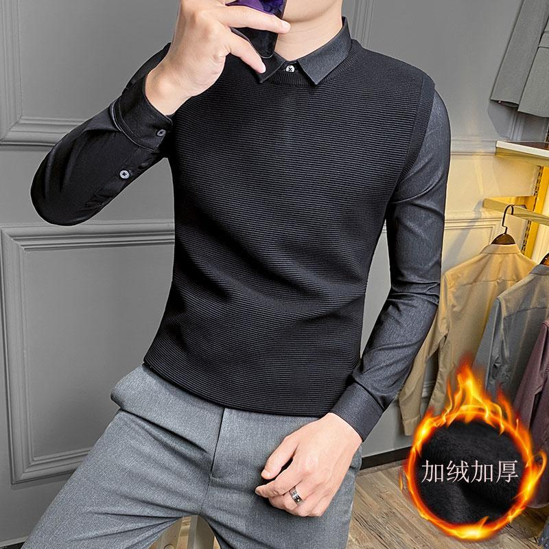 faux deux pièces de chandail d'hommes de l'automne et l'hiver personnalité tendance coréenne hauts col belle chemise épaisse Slim pull