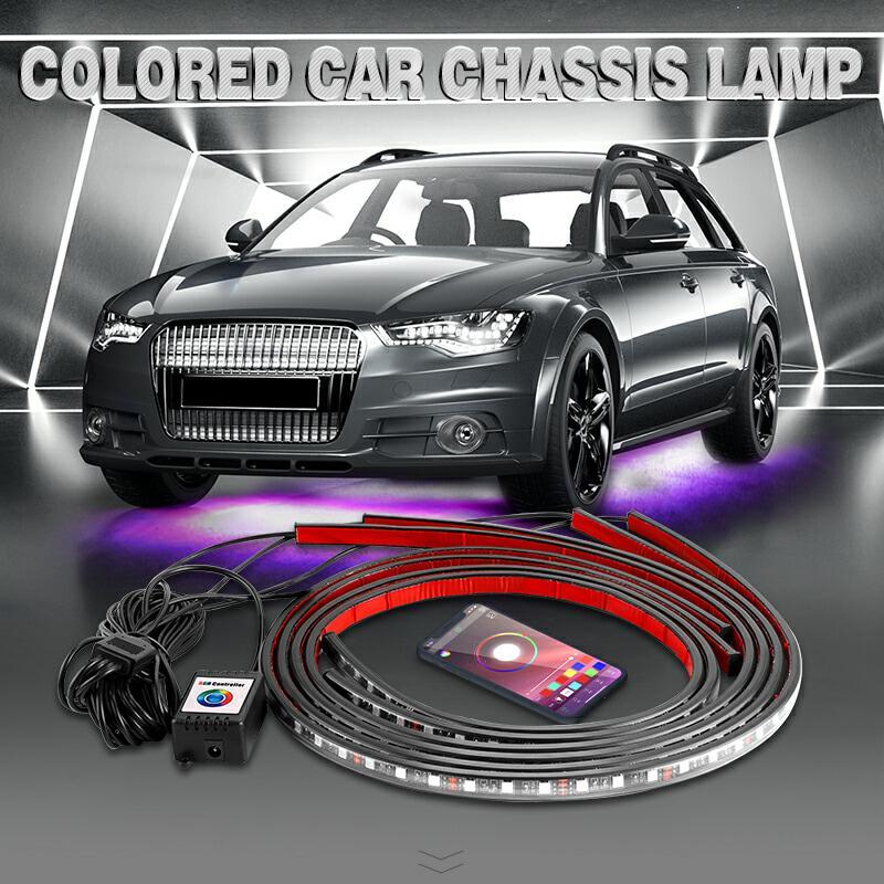 4x Araba Underglow Esnek Şerit LED Uzaktan Kumandalı / APP Kontrol RGB Otomobil Şasi Borusu altında LED Şerit Içinde Içinde Gömme Sistemi Neon Işık