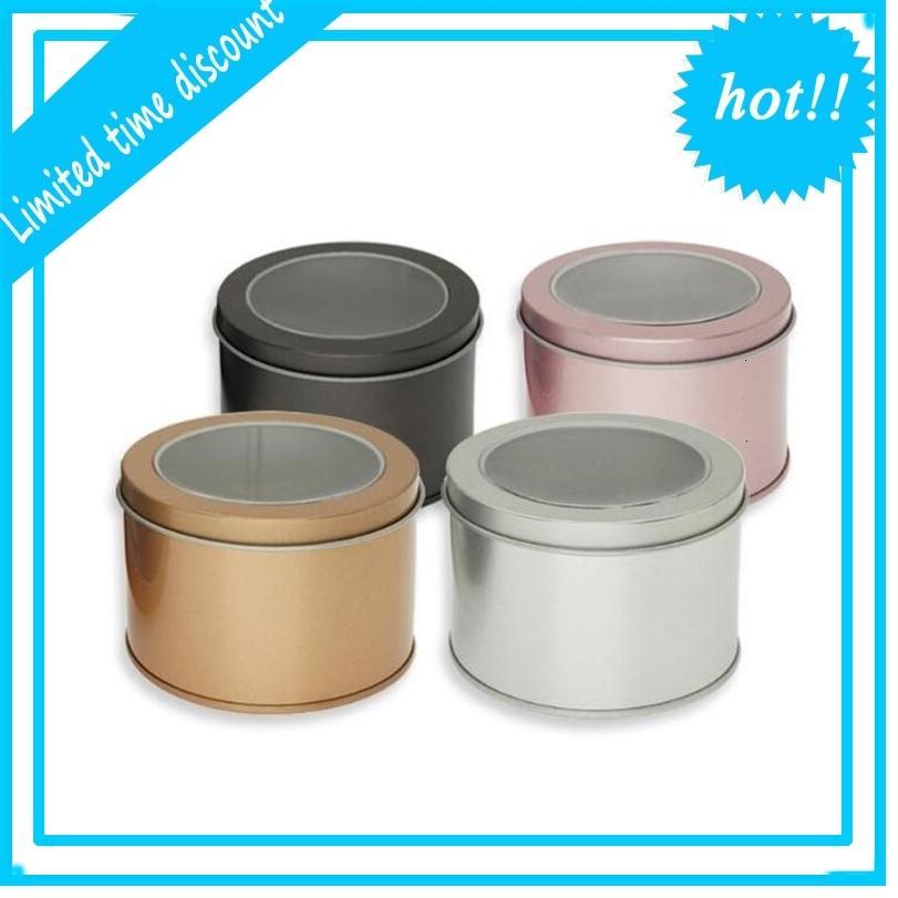 Lata redonda com janela clara embalagem metal caixa de presente atacado caixa de armazenamento recipiente de prata rosa cor de ouro