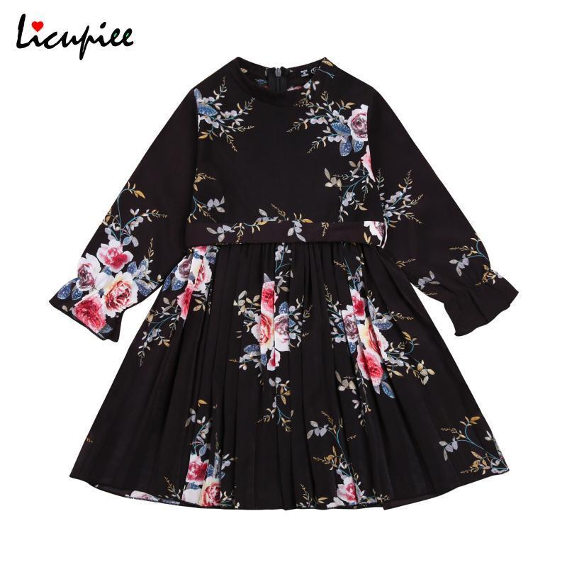 2-7 años Vestidos de impresión para bebés Niños Niños Niños Floral Vestido Impreso Cuello redondo Manga Larga Cintura Alta Vestido Vintage