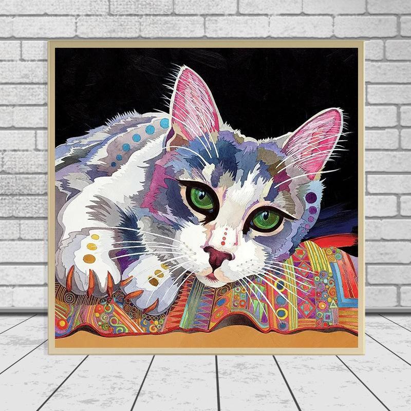 DIY Diamond Painting Full Diamond Diamond Ricamo Colorato Cat Animale Diamante Mosaico Punto Croce Set Home Decor