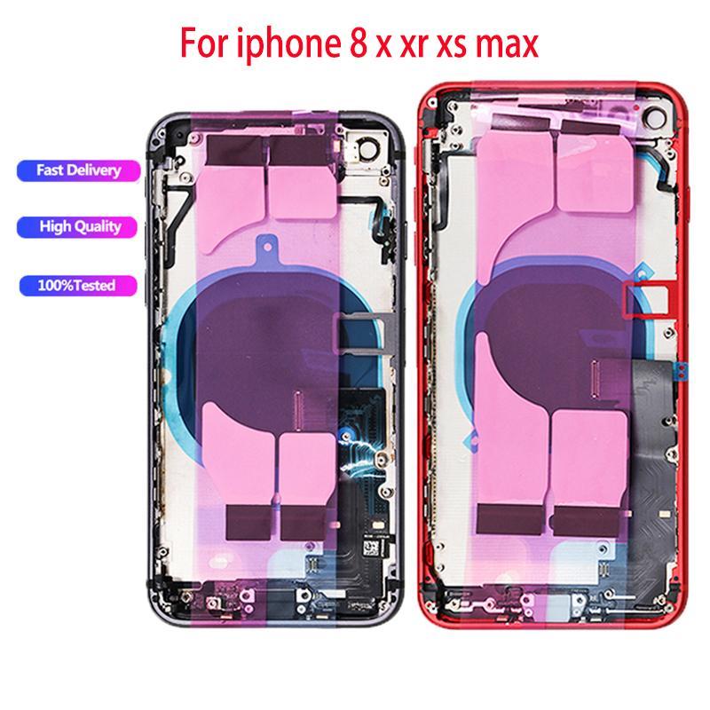 10 adet tam konut iphone 8 8 artıx xr xs max geri orta çerçeve şasi pil kapı arka kapak gövde ile flex kablo parçaları montaj