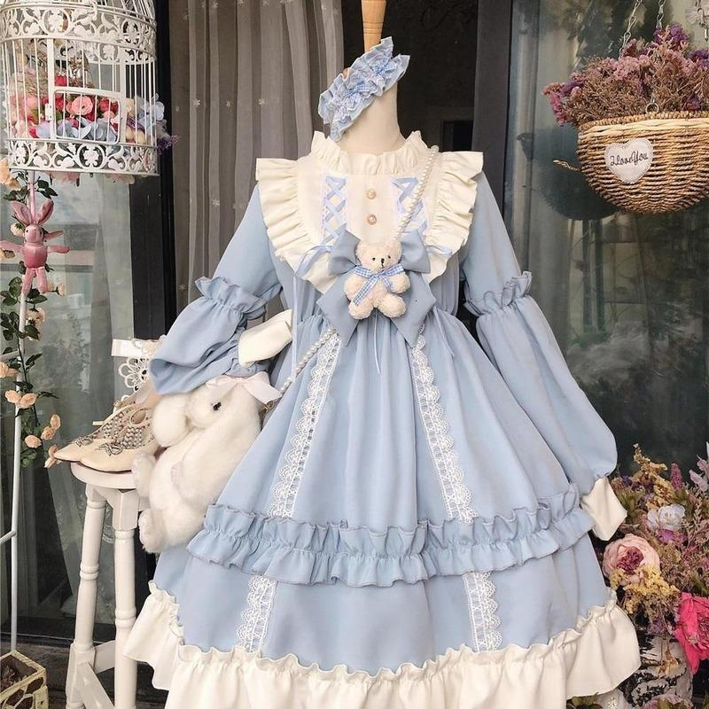 Kawaii Lolita стиль женские кружевные горничные платья милый японский костюм сладкий готическая вечеринка халат ренессанс Vestidos 2020