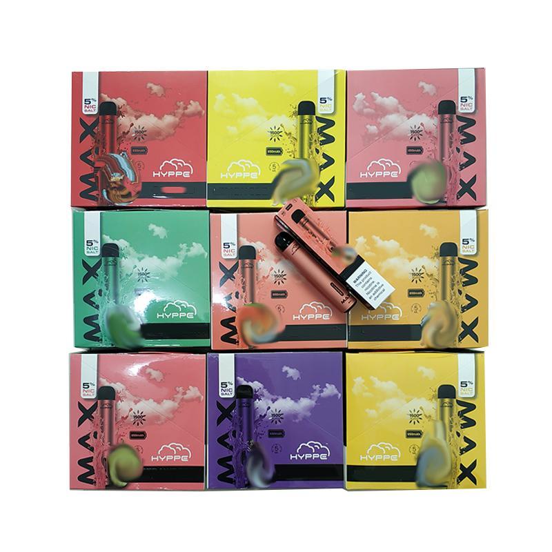 E-Cigarette Hyppe Max Dispositif de pod jetable Max 1500bscuffs 5ml Cartouche pré-remplissée Vape Pen Bar Plus Flow XL Bang XXL Messe Happy Stick