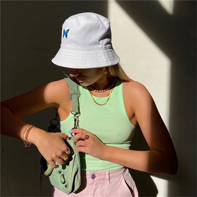 패션 프린트 Fishman 모자 여성 캐주얼 자외선 차단제 넓은 브림 흰색 모자 Foldable Beach 양동이 모자 거리 모자 여름 여자