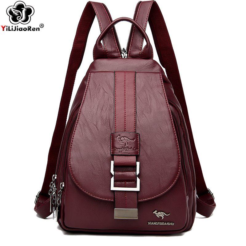 Anti-Diebstahl-Bagpack beiläufige Damen weiche Leder Rucksack Frauen Umhängetasche Large Schultaschen für Teenager