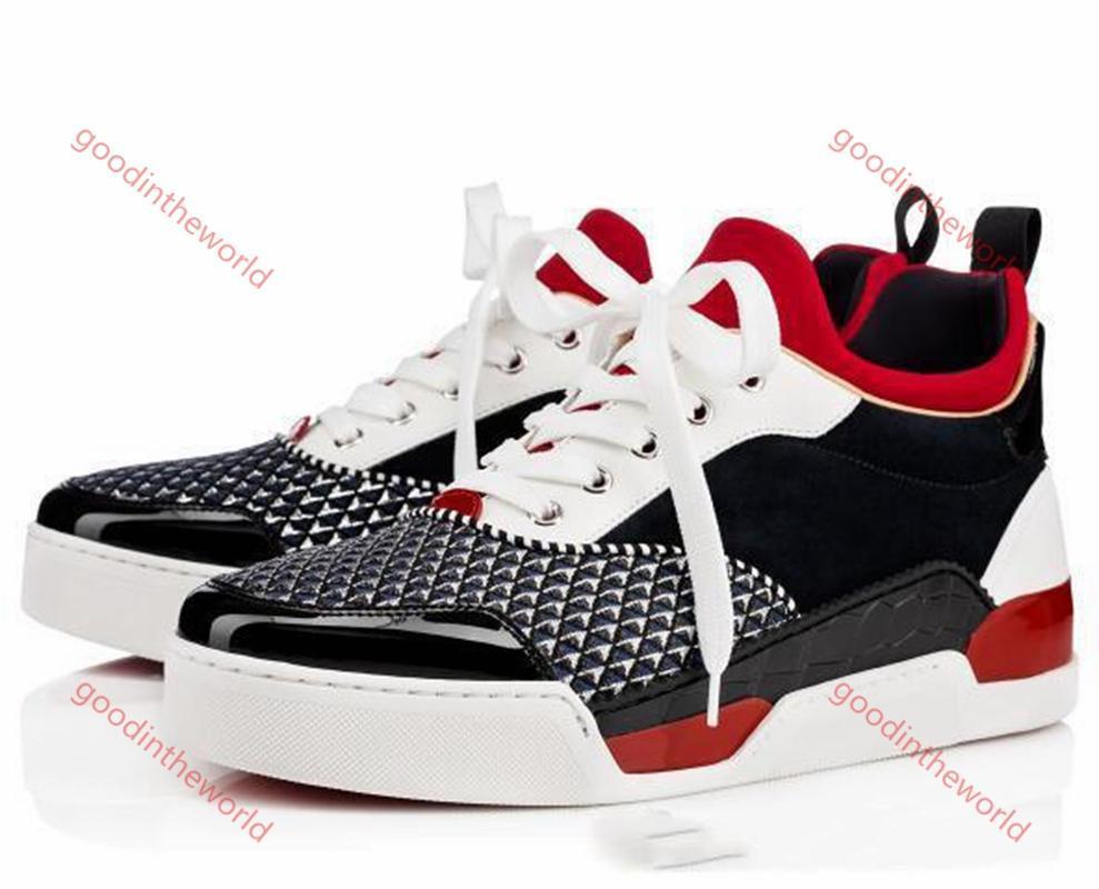 Christian Loubutin CL shoes Moda Vermelho Bottom Men's e Mulher Casuais Rebite Rebite Strass Shoes Vestido Party Sapatos Casuais Sapatos Esportivos Caixa Sportswear