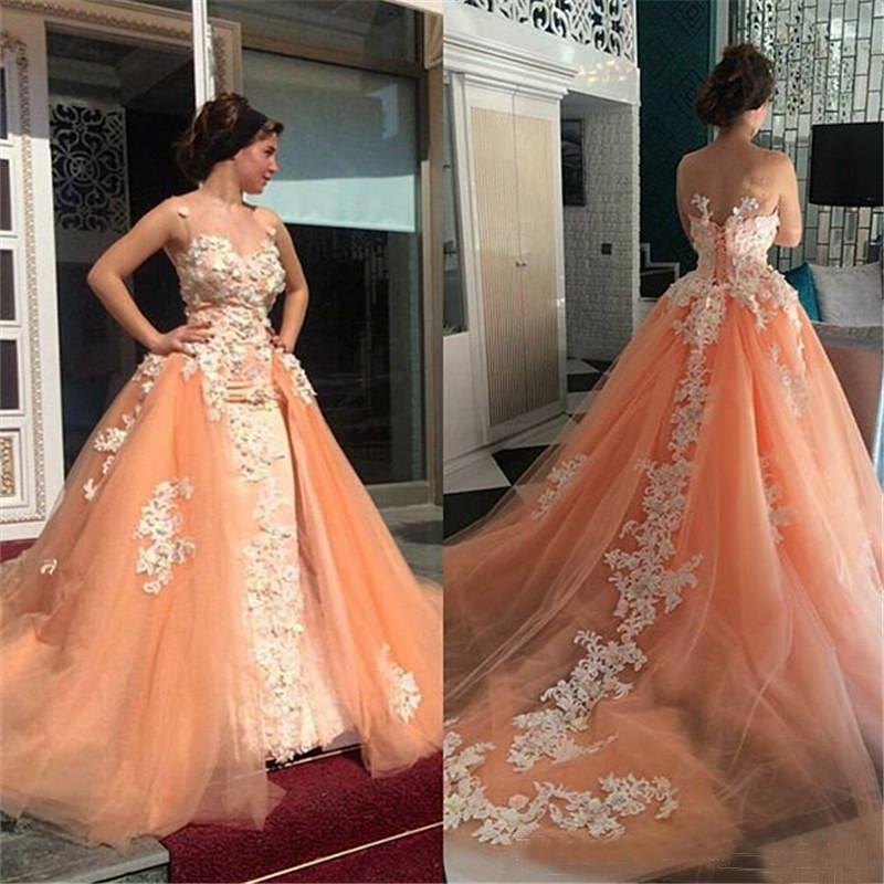 Gorgeous Coral Lace Prom Dresses With Detachable Train Overskirt Quinceanera Dress Women Plus Size Open Back Formal Evening Party Gowns
