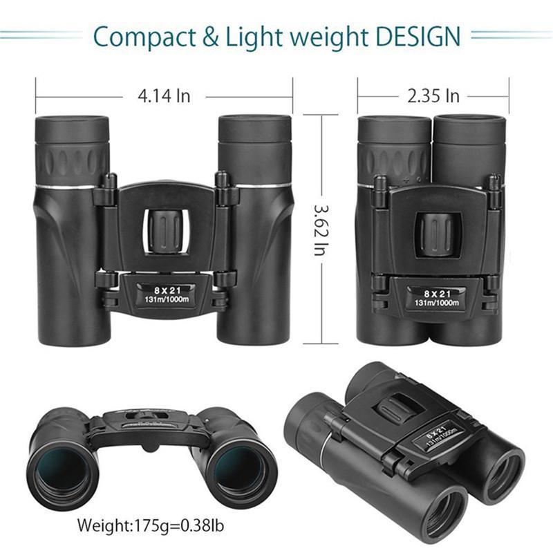 Новый 8x21 Compact Увеличить Бинокль Long Range 1000m Складной Hd Мощный мини-телескоп Оптика для охоты Отдых Путешествия