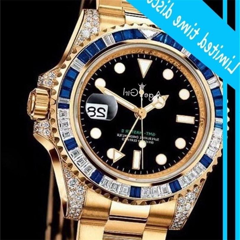 Новые мужчины автоматические механические радуги квадрант бриллиантов Blue Bezel GMT RVS Gold Black Classic Ghent Clock