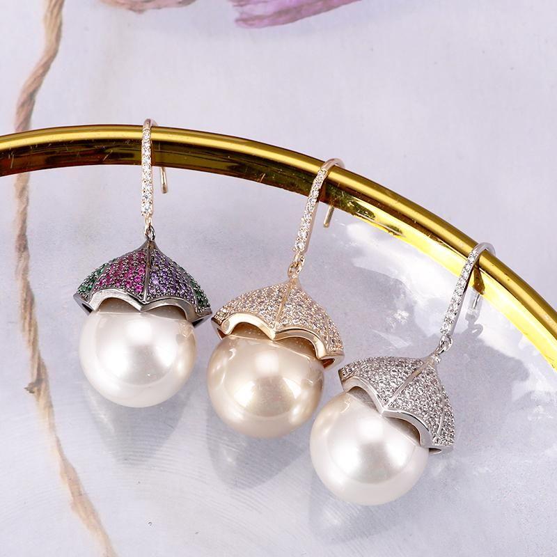 Baumleuchter Xiumeiyizu Shell Perle Drop Ohrring Elegant Lotus Leaf Design Gepflasterte Zirkonia Mode Juwelri Frauen Hochzeit Bankett