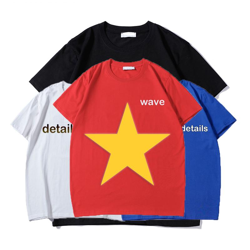 Mens T Shirt Summer Pairs in stile Tee Lettera a onda stampata Coppia classica Casual Manica Corta Casual 4Color
