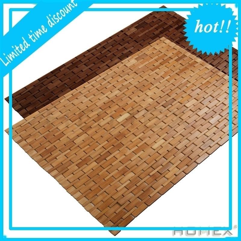 Folding Bamboo Shower Mildew Resistant Teak Bath Mat with Non Slip Grips
