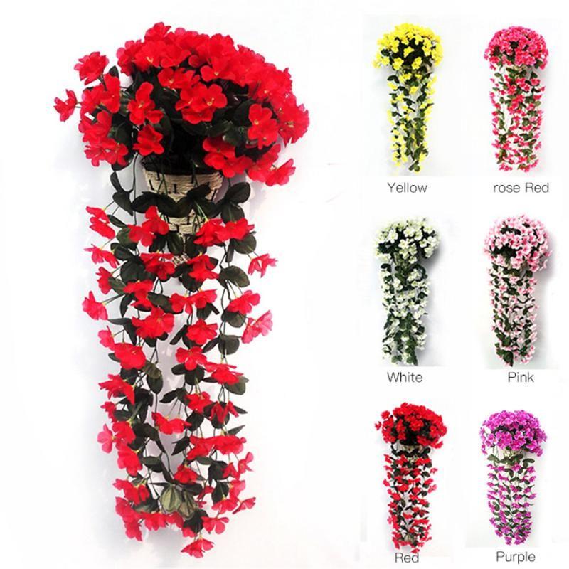 Violet artificial flor simulação parede pendurado cesta flor orquídea falsa seda videira flores