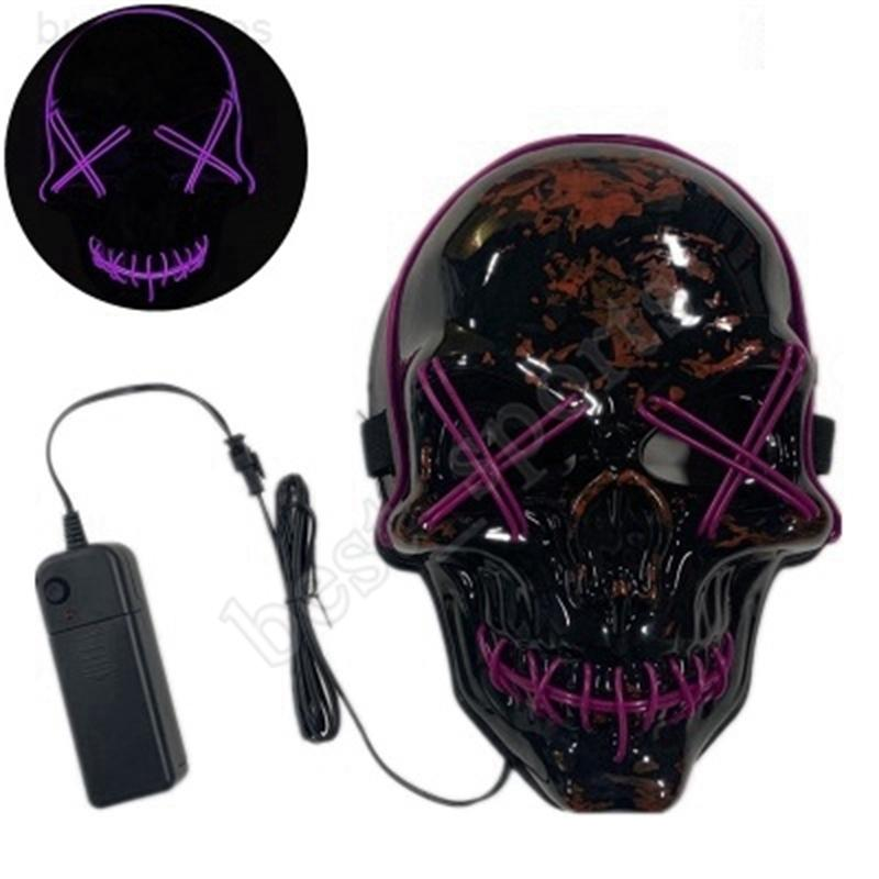 Crânio LED Purge Mask Light Up Scary Brilho para Adulto Kids Halloween Rave Festa Masks 10 Cores Zza1181