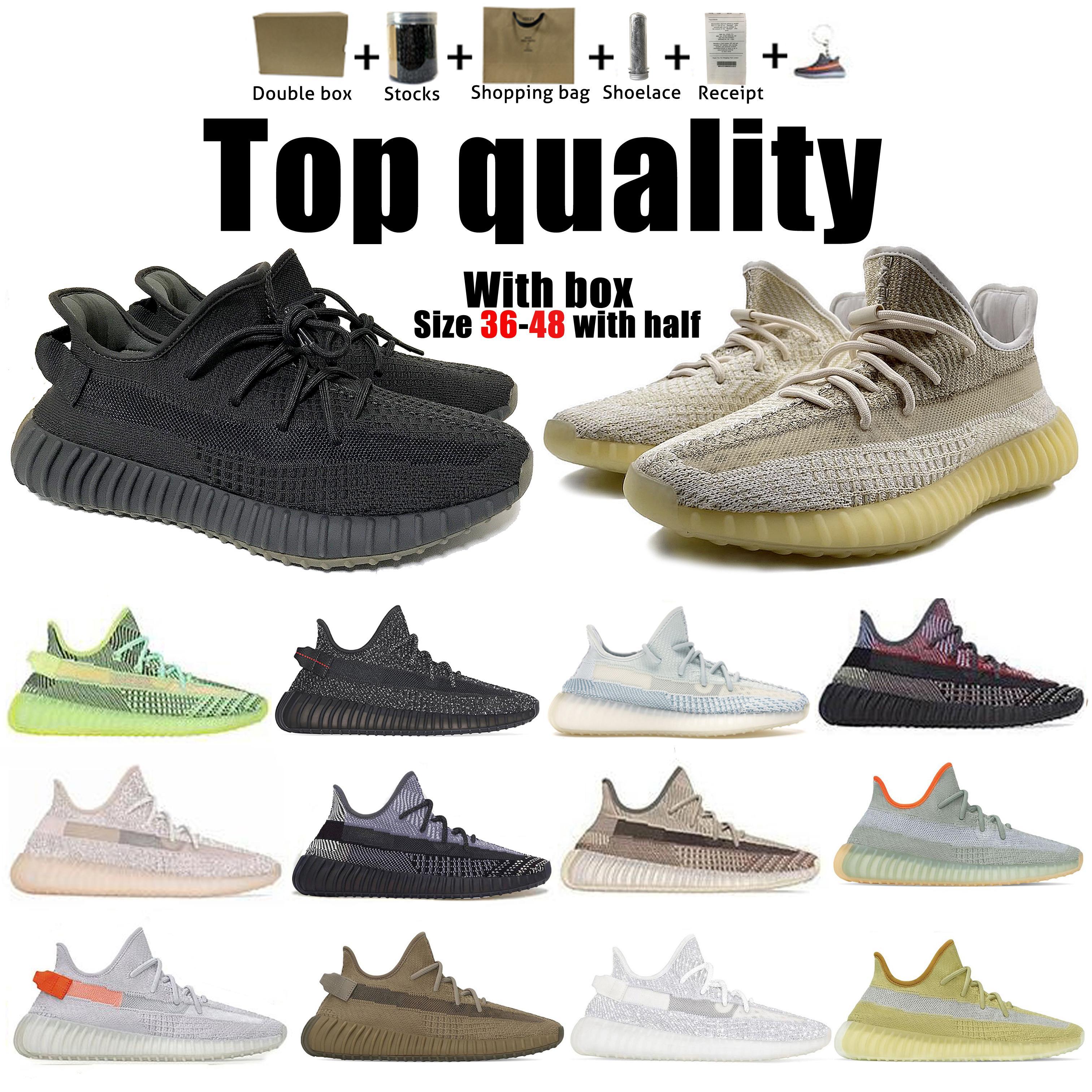 Высочайшее качество Kanye West Men Женская обувь Шингл Yecheil Черный светоотражающий Yeezreel Earth Linen Asriel Zebra Trainers кроссовки от 36 до 48