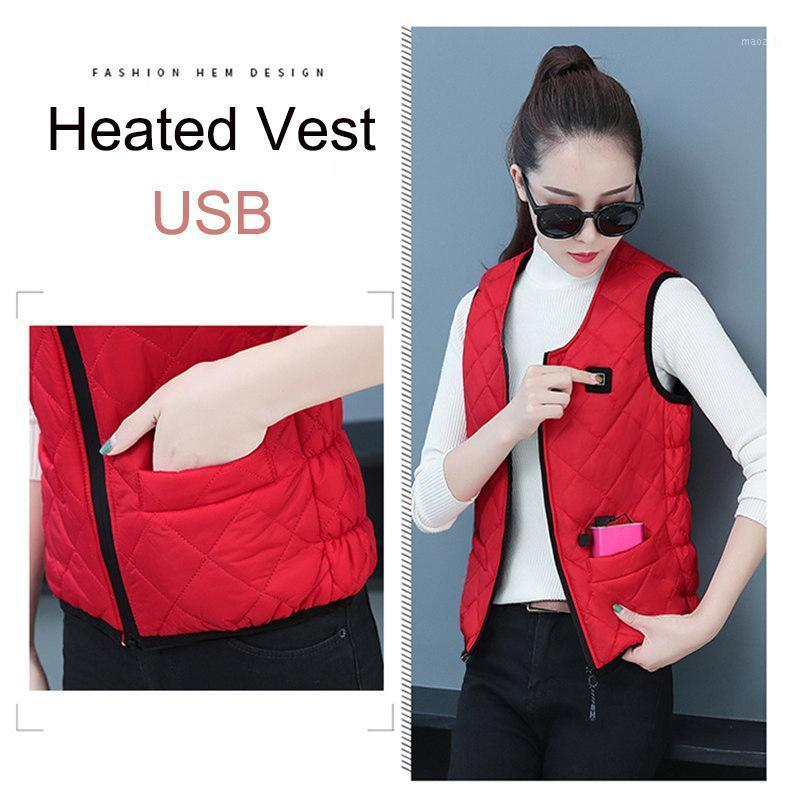 Outdoor T-Shirts USB Thermal Electric Heated Vest Women Infrad Battery Jacket Winter Hiking Warm Clothing Tactical Vest1