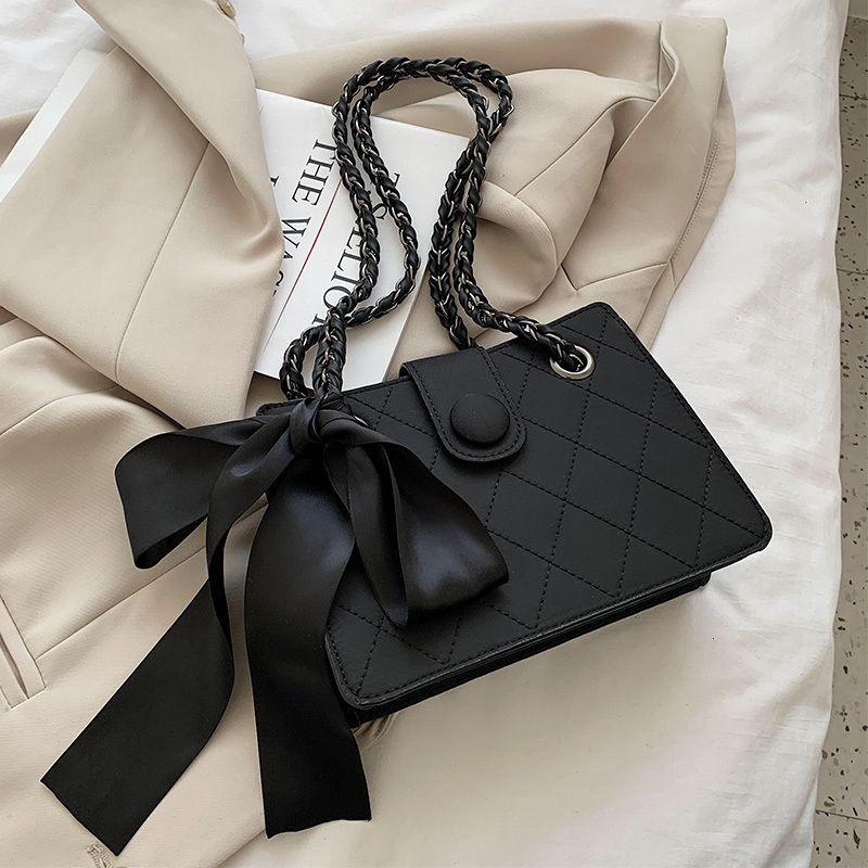 Sacos crossbody do couro do projeto da fita preto para mulheres 2021 Chain Tending Ombro bolsas pequenas bolsas e bolsas
