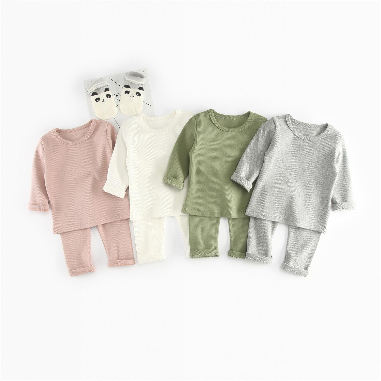 2 pçs / sets NOVO AUTONO KIDS KIDSUITS RIB de algodão de algodão de manga longa Conjunto de roupas de crianças e calça roupa terno 1-4 anos 20116