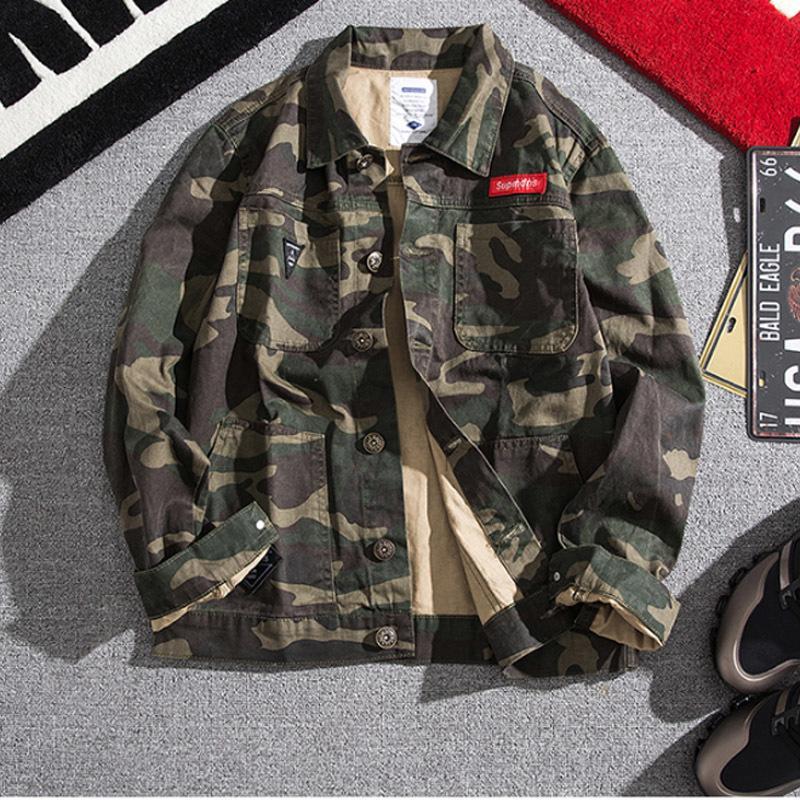 Джинсовая куртка осень зима американская оснастка куртки корейская уличная одежда бренда Свободные камуфляторы подростки Ковбой бейсбол мужские 201127