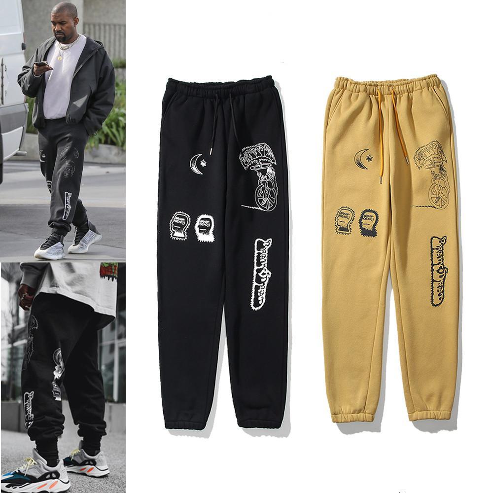 Kanye Mens 바지 남성 반사 스웨트 팬츠에 대 한 높은 거리 바지 캐주얼 망 힙합 카 모 streetwear 카모 고품질 상자