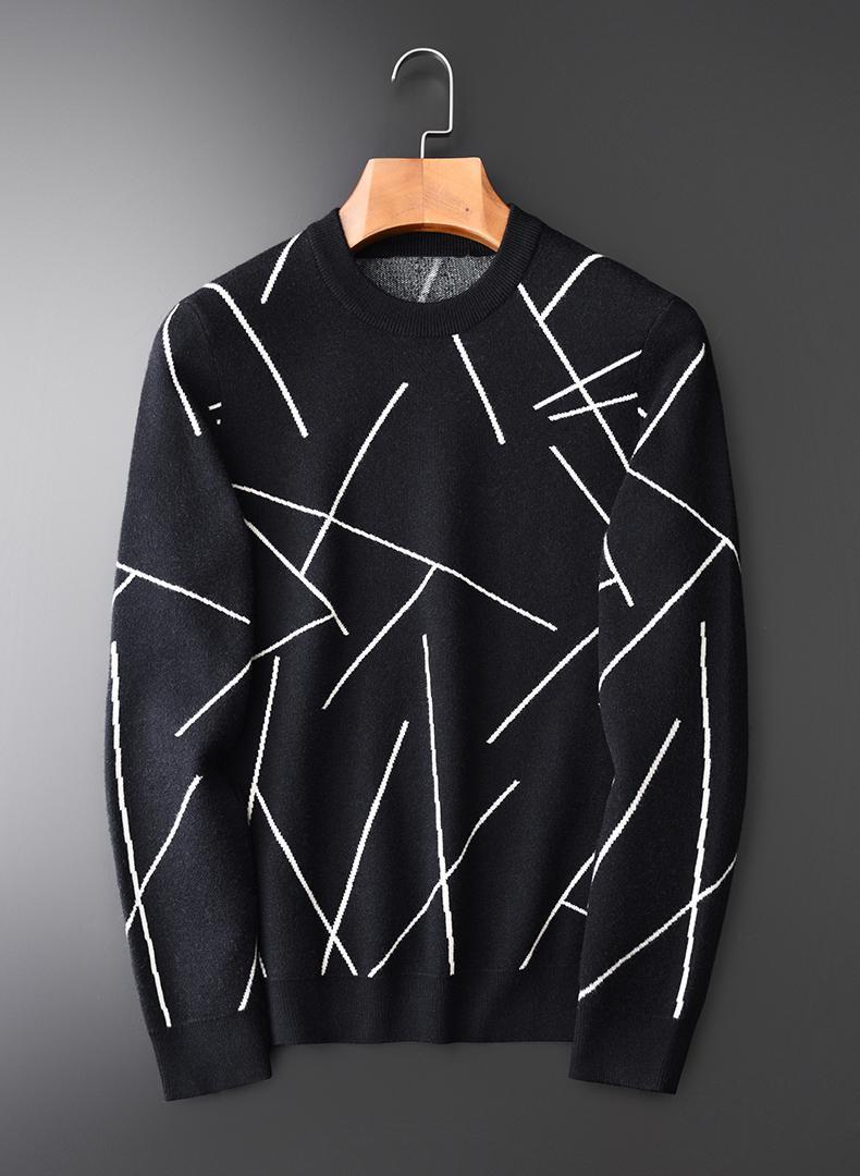 2020 Мужчины свитер Роскошные жаккарда полосатой Вязание Круглый воротник свитера мужские вскользь Slim Fit Man Plus Размер 4XL