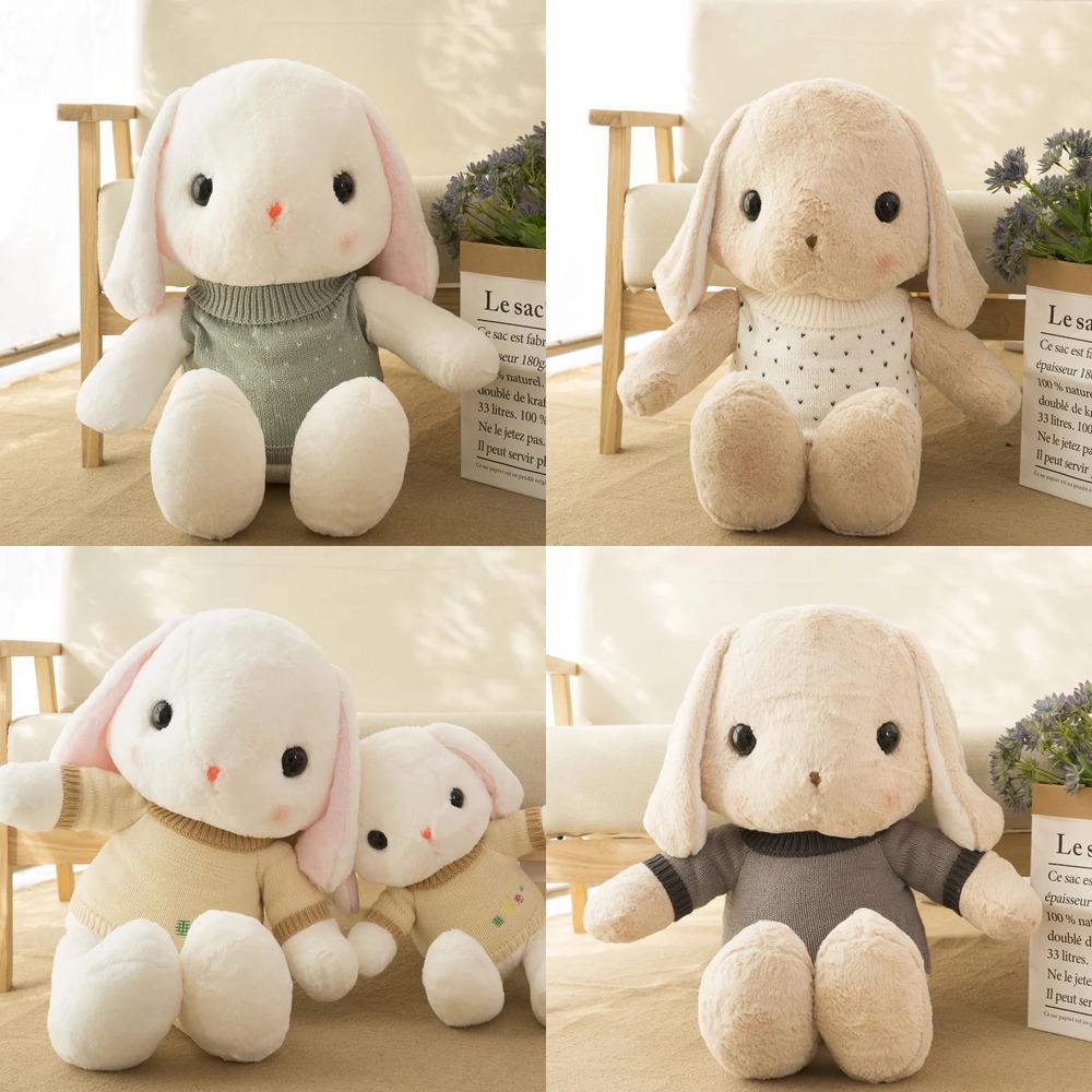 Grandes oreilles suspendues lapin avec chandails peluches jouets mignon poupée de lapin peluche coussin d'anniversaire d'anniversaire pour fille Y1209